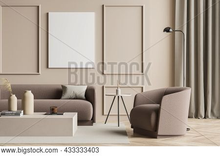 Beige Living Room Interior With Empty Canvas, On Trend Details, Wall Moulding, A Curtain, Light Brow