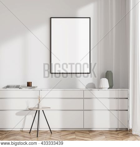 Bright Living Room Interior With White Empty Poster, Sideboard, Coffee Table And Oak Wooden Parquet