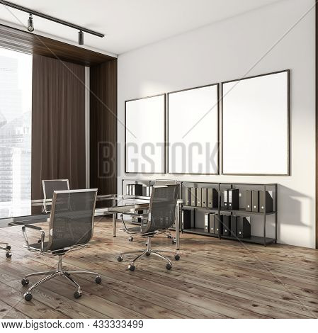 Corner View On Bright Office Room Interior With Three Empty White Posters, Panoramic Window, Large T