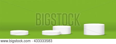 Cylinder Podium For Make-up Product Display On Green Background, For Horizontal Banner, Podium Stage