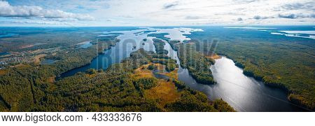 Aerial view of the lakes in Karelia Republic in Russia