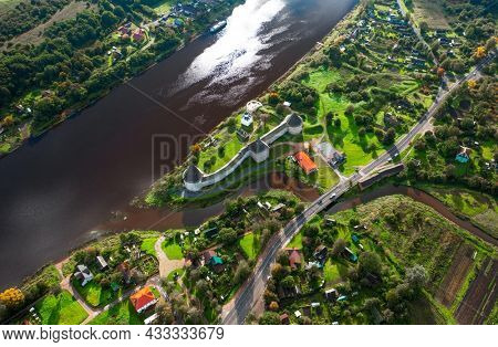 Aerial view of the old Russian fortress in the village of Staraya Ladoga in Russia