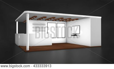 Stand, Booth, Kiosk Empty Exhibition Stand 3d Illustration 3d Rendering