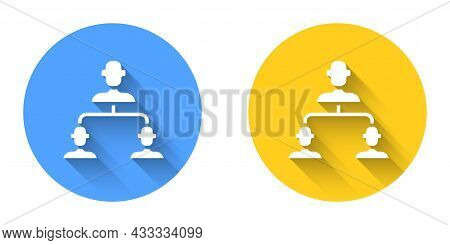 White Business Hierarchy Organogram Chart Infographics Icon Isolated With Long Shadow Background. Co