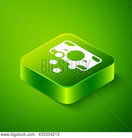 Isometric Stacks Paper Money Cash Icon Isolated On Green Background. Money Banknotes Stacks. Bill Cu