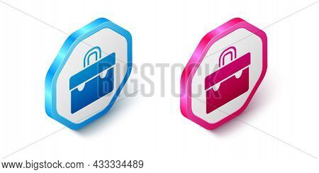 Isometric Briefcase Icon Isolated On White Background. Business Case Sign. Business Portfolio. Hexag