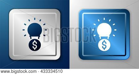 White Light Bulb With Dollar Symbol Icon Isolated On Blue And Grey Background. Money Making Ideas. F