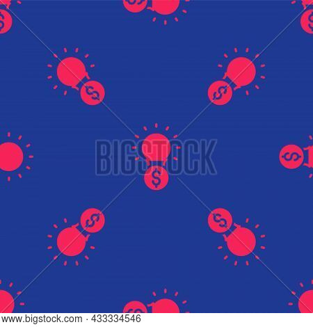 Red Light Bulb With Dollar Symbol Icon Isolated Seamless Pattern On Blue Background. Money Making Id