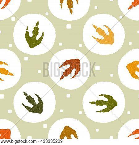 Dinosaur Footprints Pattern. Polka Dot Childish Vector Illustration With Dinosaur Paws.