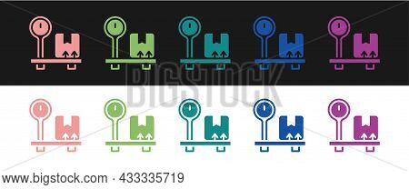 Set Scale With Cardboard Box Icon Isolated On Black And White Background. Logistic And Delivery. Wei