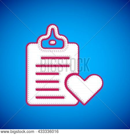 White Medical Clipboard With Clinical Record Icon Isolated On Blue Background. Prescription, Medical