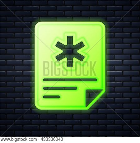Glowing Neon Medical Clipboard With Clinical Record Icon Isolated On Brick Wall Background. Prescrip