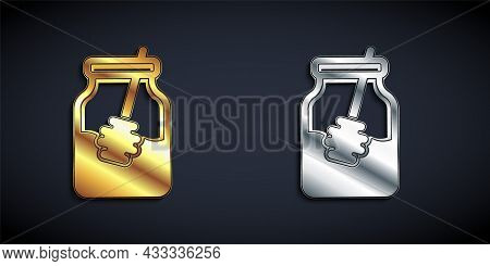 Gold And Silver Jar Of Honey And Honey Dipper Stick Icon Isolated On Black Background. Food Bank. Sw