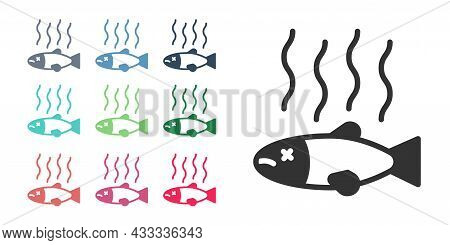 Black Dead Fish Icon Isolated On White Background. Rotten Fish. Set Icons Colorful. Vector