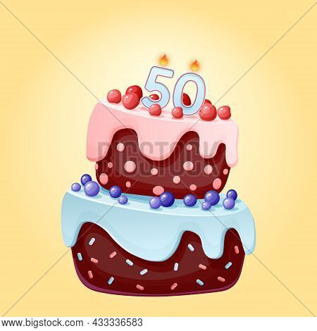 Fifty Years Birthday Cake With Candles Number 50. Cute Cartoon Festive Vector Image. Chocolate Biscu