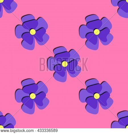 Paper Cut Blue Daisies Seamless Pattern. Beautiful Trendy Romantic Festive Background, Blossoming 3d