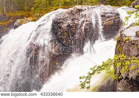Rjukandefossen In Hemsedal Viken Norway Most Beautiful Waterfall In Europe.