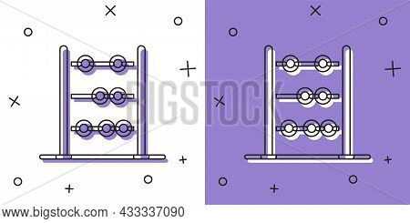 Set Abacus Icon Isolated On White And Purple Background. Traditional Counting Frame. Education Sign.
