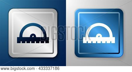 White Protractor Grid For Measuring Degrees Icon Isolated On Blue And Grey Background. Tilt Angle Me