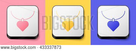 Isometric Necklace With Heart Shaped Pendant Icon Isolated On Pink, Yellow And Blue Background. Jewe