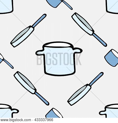 Pattern With Kitchen Utensils On A Gray Background. Frying Pan, Ladle, Saucepan.