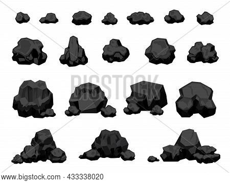 Cartoon Mine Black Coal Pieces And Piles, Burning Material. Charcoal Lumps For Fire, Natural Energy