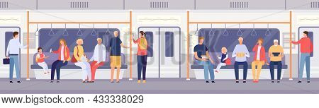 Passenger Crowd Inside Subway Train Or City Bus. Cartoon People Standing And Sitting In Public Trans