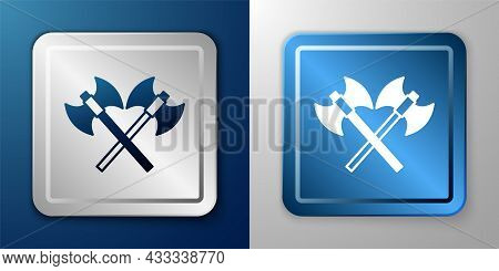 White Crossed Medieval Axes Icon Isolated On Blue And Grey Background. Battle Axe, Executioner Axe.