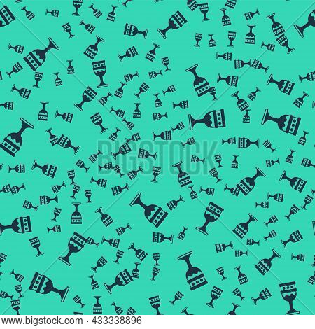 Black Medieval Goblet Icon Isolated Seamless Pattern On Green Background. Holy Grail. Vector