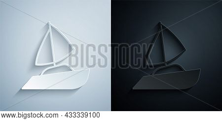 Paper Cut Yacht Sailboat Or Sailing Ship Icon Isolated On Grey And Black Background. Sail Boat Marin