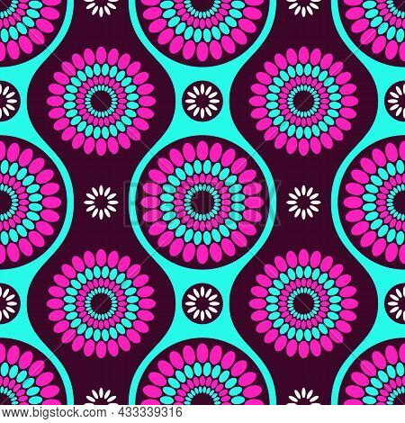 Seamless African Fashion Vector Pattern With Circles. Round Shapes, Wavy Lines. Bright, Vibrant Colo