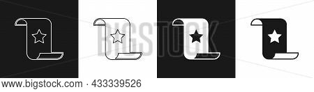 Set Paper Check And Financial Check Icon Isolated On Black And White Background. Paper Print Check,