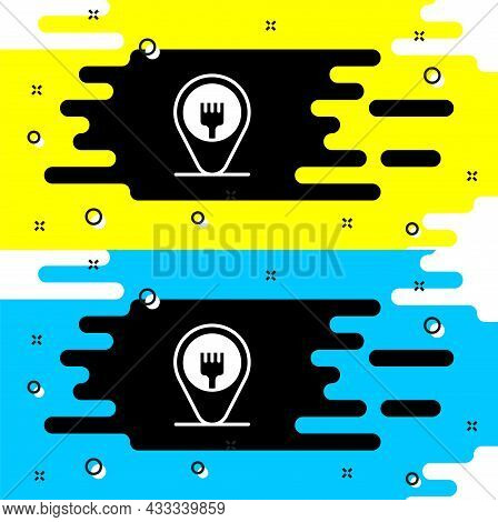 White Cafe And Restaurant Location Icon Isolated On Black Background. Fork Eatery Sign Inside Pinpoi