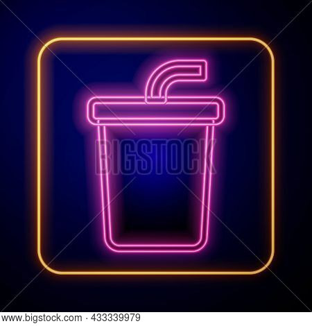 Glowing Neon Paper Glass With Drinking Straw And Water Icon Isolated On Black Background. Soda Drink