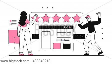 Customer Feedback Review Concept. Man And Woman Evaluate Work Of Website Or Application. Characters