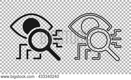 Black Eye Scan Icon Isolated On Transparent Background. Retinal Scan. Scanning Eye. Security Check S
