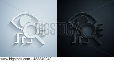Paper Cut Eye Scan Icon Isolated On Grey And Black Background. Retinal Scan. Scanning Eye. Security