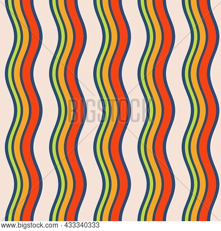 Seamless African Fashion Striped Vector Pattern. Wavy Lines, Stripes. Bright, Vibrant Colors. Red, O