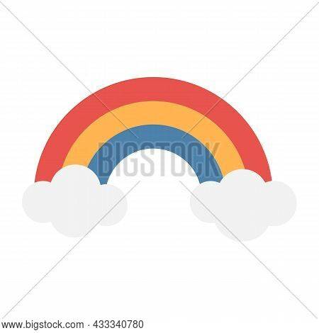Simplest Cartoon Tricolor Rainbow With Clouds. Red, Orange, Blue. Vector Illustration.