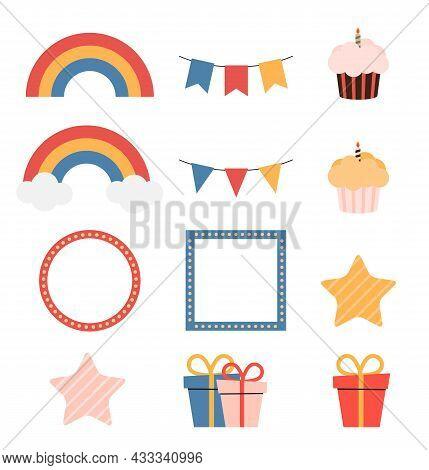 Birthday Kids Icon Collection. Vector Illustration. Eps10