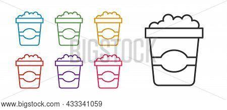 Set Line Popcorn In Cardboard Box Icon Isolated On White Background. Popcorn Bucket Box. Set Icons C