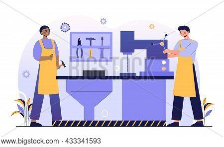 Work On Milling Machine. Men Make Holes In Metal. Metalworker Using Steelworks Equipment. Workers In
