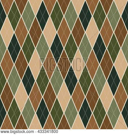 Seamless Background Argyle Pattern. Green Brown Color Tone Tartan Plaid. Texture Design For Apparel,