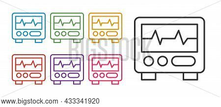 Set Line Computer Monitor With Cardiogram Icon Isolated On White Background. Monitoring Icon. Ecg Mo