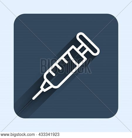 White Line Syringe Icon Isolated With Long Shadow Background. Syringe For Vaccine, Vaccination, Inje