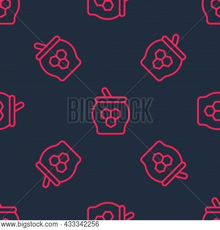 Red Line Jar Of Honey And Honey Dipper Stick Icon Isolated Seamless Pattern On Black Background. Foo