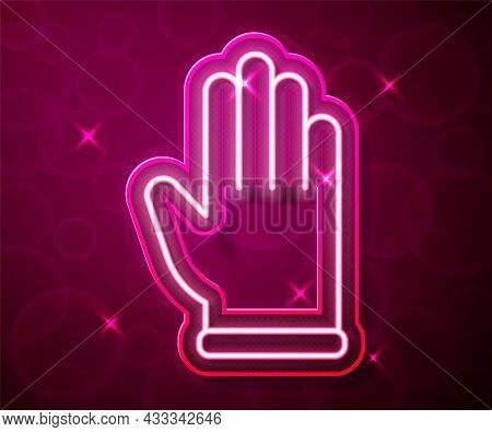 Glowing Neon Line Rubber Gloves Icon Isolated On Red Background. Latex Hand Protection Sign. Housewo