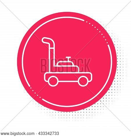 White Line Lawn Mower Icon Isolated On White Background. Lawn Mower Cutting Grass. Red Circle Button