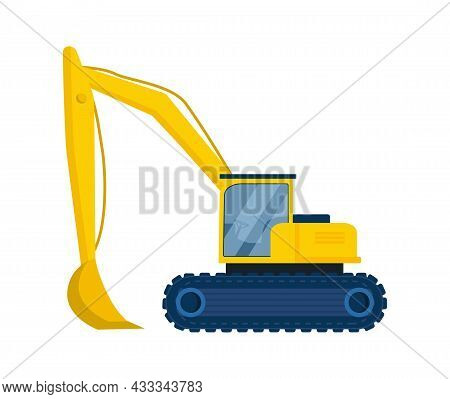 Big Colorful Excavator Concept. Modern Equipment For Automation Of Work At Construction Site. Bucket