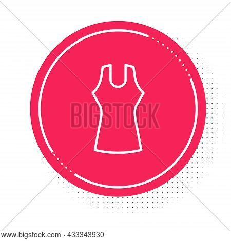 White Line Woman Dress Icon Isolated On White Background. Clothes Sign. Red Circle Button. Vector